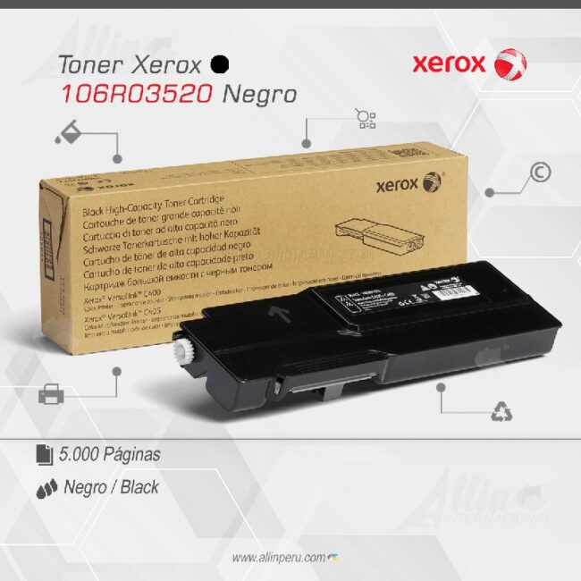 Toner Xerox 106R03520 Negro